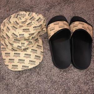Gucci flip flops with hat set